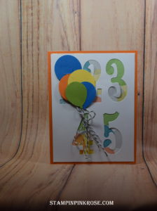 Stampin' Up! CAS birthday card made with Number of Years. Designed by demo Pamela Sadler. See more cards at stampinpinkrose.com #stampinpinkrose