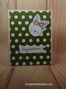 Stampin' Up! CAS  baby card made with Friends and Flowers stamp set . Designed by demo Pamela Sadler. See more cards at stampinpinkrose.com #stampinpinkrose