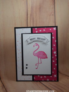 Stampin' Up! CAS birthday card made with Pop of Flamingo stamp set. Designed by demo Pamela Sadler. See more cards at stampinpinkrose.com #stampinpinkrose