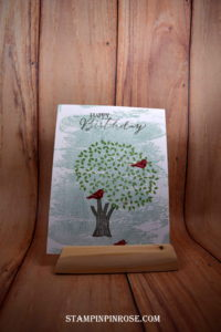 Stampin' Up! CAS birthday card made withThoughtful Branches stamp set and designed by Demo Pamela Sadler. See more cards at stampinkrose.com #stampinpinkrose