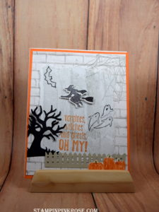 Stampin' Up! CAS Halloween card made with Spooky Fun and Ghoulish Grunge tamp set and designed by Demo Pamela Sadler. See more cards at stampinkrose.com #stampinkpinkrose