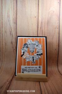 Stampin' Up! CAS Halloween card made with Mr. Funny Bones and designed by Demo Pamela Sadler. See more cards at stampinkrose.com #stampinkpinkrose