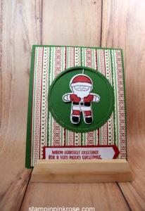 Stampin' Up! Christmas card made with Cookie Cutter Christmas stamp set and designed by Demo Pamela Sadler. See more cards at stampinkrose.com #stampinkpinkrose