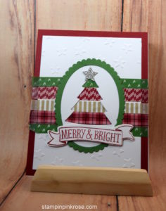 Stampin' Up! CAS Christmas card with Stiched with Cheer stamp set and designed by Demo Pamela Sadler. See more cards at stampinkrose.com #stampinkpinkrose #etsycardstrulyheart