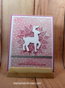 Stampin' Up! CAS Christmas card with Frosted Medallions stamp set and designed by Demo Pamela Sadler. See more cards at stampinkrose.com #stampinkpinkrose #etsycardstrulyheart