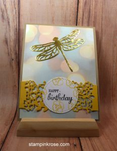 Stampin' Up! Birthday card made with Dragonfly Thinlits and designed by Demo Pamela Sadler. See more cards at stampinkrose.com #stampinkpinkrose #etsycardstrulyheart