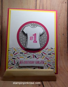 Stampin' Up! Birthday card made with Custom Tee stamp set and designed by Demo Pamela Sadler. See more cards at stampinkrose.com #stampinkpinkrose #etsycardstrulyheart
