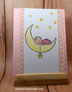 Stampin' Up! Baby card made with Moon Baby stamp set and designed by Demo Pamela Sadler. See more cards at stampinkrose.com #stampinkpinkrose #etsycardstrulyheart