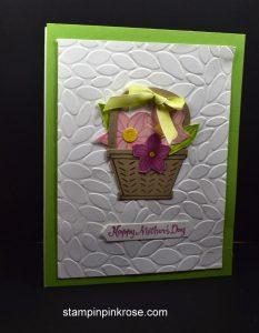 Stampin' Up! Mother's Day card made with Basket Builder stamp set and designed by Demo Pamela Sadler. See more cards at stampinkrose.com #stampinkpinkrose #etsycardstrulyheart