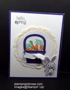 Stampin' Up! Friendship or Hello card made with Basket Bunch stamp set and designed by Demo Pamela Sadler. See more cards at stampinkrose.com #stampinkpinkrose #etsycardstrulyheart