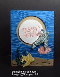 Stampin' Up! Birthday card made with From Land to Sea and Seaside Shore stamp sets and designed by Demo Pamela Sadler. See more cards at stampinkrose.com #stampinkpinkrose #etsycardstrulyheart