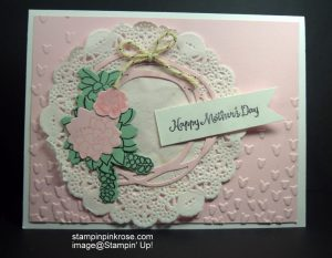 Stampin' Up! Mother's Day card made with Oh So Succulent stamp set and designed by Demo Pamela Sadler. See more cards at stampinkrose.com #stampinkpinkrose #etsycardstrulyheart