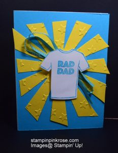 Stampin' Up! Father's Day card made with Custom Tee stamp set and designed by Demo Pamela Sadler. See more cards at stampinkrose.com #stampinkpinkrose#etsycardstrulyheart
