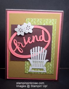 Stampin' Up! CAS Friendship or Hello card made with Lovely Words Thinlits Dies and designed by Demo Pamela Sadler. See more cards at stampinkrose.com #stampinkpinkrose #etsycardstrulyheart