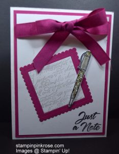 Stampin' Up! Friendship or Hello card made with Crafting Forever stamp set and designed by Demo Pamela Sadler. See more cards at stampinkrose.com #stampinkpinkrose #etsycardstrulyheart