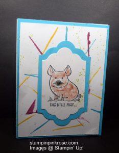 Stampin' Up! Any Occasion card made with This Little Piggy stamp set and designed by Demo Pamela Sadler. See more cards at stampinkrose.com #stampinkpinkrose #etsycardstrulyheart