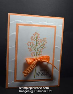 Stampin' Up! CAS Birthday card made using Beautiful Bouquet stamp set and designed by Demo Pamela Sadler. Make this beautiful card. See more cards at stampinkrose.com and etsycardstruly heart