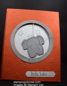 Stampin' Up! Baby card made with A Little Wild stamp set and designed by Demo Pamela Sadler. Come swing among the stars with this elephant. See more cards at stampinkrose.com #stampinkpinkrose etsycardstrulyheart