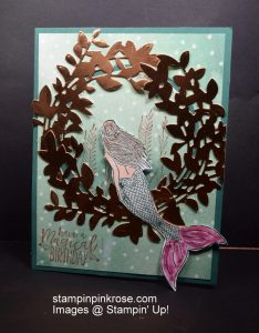 Stampin' Up! Birthday card made with Magical Mermaid stamp set and designed by Demo Pamela Sadler. Make this mermaid card magical with the porthole. See more cards at stampinkrose.com  and etsycardstrulyheart