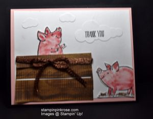 Stampin' Up! Thank You card made with This Little Piggy stamp set and designed by Demo Pamela Sadler. Saying thank you should be special and it is with these two little piggies. See more cards at stampinkrose.com and etsycardstrulyheart.com
