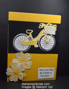 Stampin' Up! Birthday card made with Bike Ride stamp set and designed by Demo Pamela Sadler. For the bike rider this is a perfect birthday card. See more cards at stampinkrose.com and etsycardstrulyheart