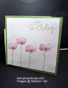 """Stampin' Up! Birthday card made with Daisy Delight stamp set and designed by Demo Pamela Sadler. Watch the video on my blog to make this 4"""" x 4"""" card. See more cards at stampinkrose.com and etsycardstrulyheart"""
