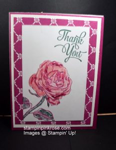 Stampin' Up! Thank You card made with Graceful Garden stamp set and designed by Demo Pamela Sadler. Nothing is more lovely than a rose. See more cards at stampinkrose.com and etsycardstrulyheart