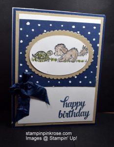 Stampin' Up! Birthday card made with Bella and Friends stamp set and designed by Demo Pamela Sadler. Send a birthday card that friend. See more cards at stampinkrose.com #stampinkpinkrose #etsycardstrulyheart