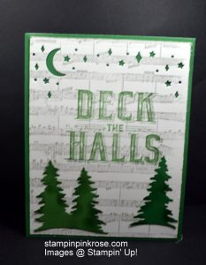 Stampin' Up! CAS Christmas card with Carols of Christmas stamp set and designed by Demo Pamela Sadler. It is time to think Christmas and Deck the Halls. See more cards at stampinkrose.com #stampinkpinkrose #etsycardstrulyheart