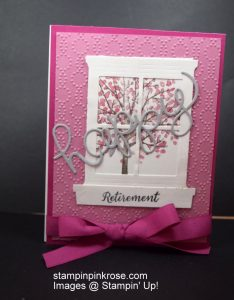 Stampin' Up! Retirement card made with Sheltering Tree stamp set and designed by Demo Pamela Sadler. This card is adaptable for any sex. See more cards at stampinkrose.com and etsycardstrulyheart