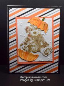 Stampin' Up! Halloween card with Bear Baby stamp set and designed by Demo Pamela Sadler. Have some fun with the pumpkins. See more cards at stampinkrose.com #stampinkpinkrose #etsycardstrulyheart