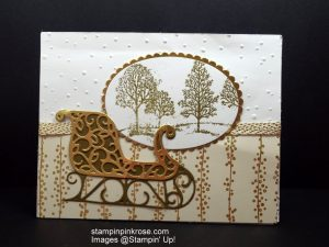 Stampin' Up! Christmas card with Santa's Sleigh stamp set and designed by Demo Pamela Sadler. Take a journey on Santa's Sleigh. See more cards at stampinkrose.com #.com and etsycardstrulyheart