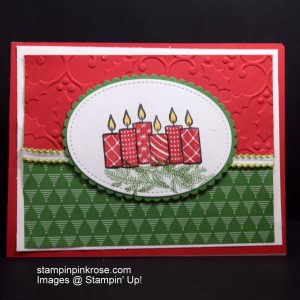 Stampin' Up! Christmas card with Merry Patterns stamp set and designed by Demo Pamela Sadler. Light the way for the start of the Holidays. See more cards at stampinkrose.com #stampinkpinkrose #etsycardstrulyheart