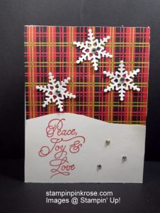 Stampin' Up! CAS Christmas card with Peace This Christmas stamp set and designed by Demo Pamela Sadler. Gently falling snowflakes bring wishes your way. See more cards at stampinkrose.com #stampinkpinkrose #etsycardstrulyheart