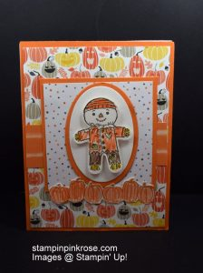 Stampin' Up! Halloween card withPick a Pumpkin stamp set and designed by Demo Pamela Sadler. Have some fun with the pumpkins. See more cards at stampinkrose.com #stampinkpinkrose #etsycardstrulyheart