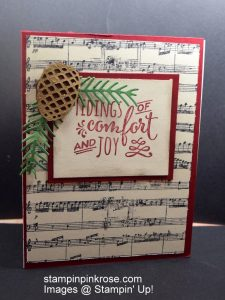 Stampin' Up! CAS Christmas card with Christmas Pines stamp set and designed by Demo Pamela Sadler. Pinecones are part of the Holidays. See more cards at stampinkrose.com and etsycardstrulyheart