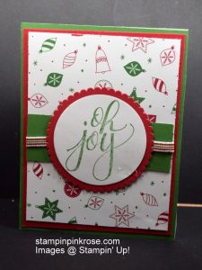Stampin' Up! CAS Christmas card with Watercolor Christmas stamp set and designed by Demo Pamela Sadler. Make a fast simple card.  See more cards at stampinkrose.com #stampinkpinkrose #etsycardstrulyheart