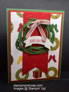 Stampin' Up! CAS Christmas card with Swirly Thinlits Dies and designed by Demo Pamela Sadler. Make a wresth quick and easy. See more cards at stampinkrose.com #stampinkpinkrose #etsycardstrulyheart