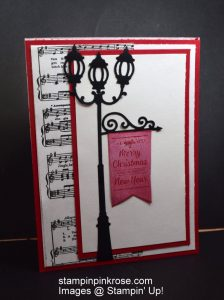 Stampin' Up! CAS Christmas card with Brightly Lit Christmas stamp set and designed by Demo Pamela Sadler. Light the way to your Holidays with this stamp set. See more cards at stampinkrose.com #stampinkpinkrose #etsycardstrulyheart