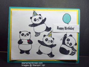 Stampin' Up! Birthday card made with Party Pandas stamp set and designed by Demo Pamela Sadler. This create little critter with his balloon will delight the receiver. You can make so many critters with this stamp set. See more cards at stampinkrose.com and etsycardstrulyheart