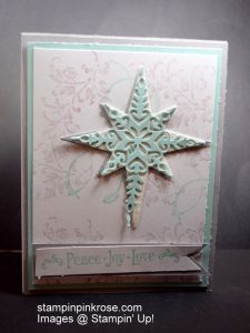 Stampin' Up!  Christmas card with Timeless Texture  stamp set and designed by Demo Pamela Sadler. Make some one's Christmas shine.  See more cards at stampinkrose.com  and etsycardstrulyheart