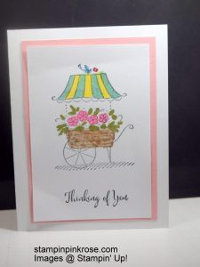Stampin' Up! Thinking of You card made with Friendship Sweetest Moments stamp set and designed by Demo Pamela Sadler. Make this flower cart for any occasion. See more cards at stampinkrose.com and etsycardstrulyheart