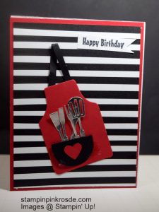 Stampin' Up! Birthday card made with Apron of Love stamp set and designed by Demo Pamela Sadler. Do you know a chef? This one is perfect for the chef or cook. You can make so many critters with this stamp set. See more cards at stampinkrose.com and etsycardstrulyheart