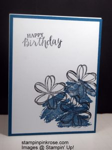 Stampin' Up! CAS Birthday card made with Sunshine Sayings amd Work of Art stamp set and designed by Demo Pamela Sadler. This is a very simple card to make that is easy to use whatever color you want. See more cards at stampinkrose.com and cardstrulyheart etsy