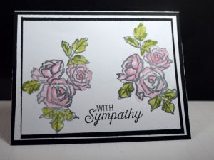 Stampin' Up! Sympathy card made with Petal Palette stamp set and designed by Demo Pamela Sadler. Using the Blends makes the roses stand out on this card. . See more cards at stampinkrose.com and etsycardstrulyheart