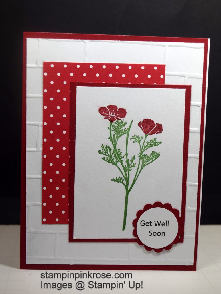 Stampin' Up! Get Well card using Wild about Flowers stamp set and designed by Demo Pamela Sadler.   Send some cheery flowers to someone not feeling well.  See more cards at stampinkrose.com and cardstrulyheartetsy